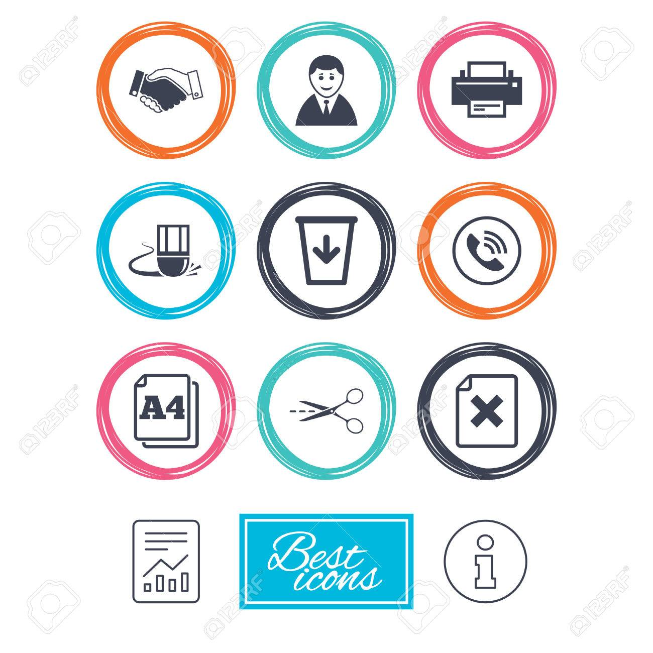Office Documents And Business Icons Printer Handshake And