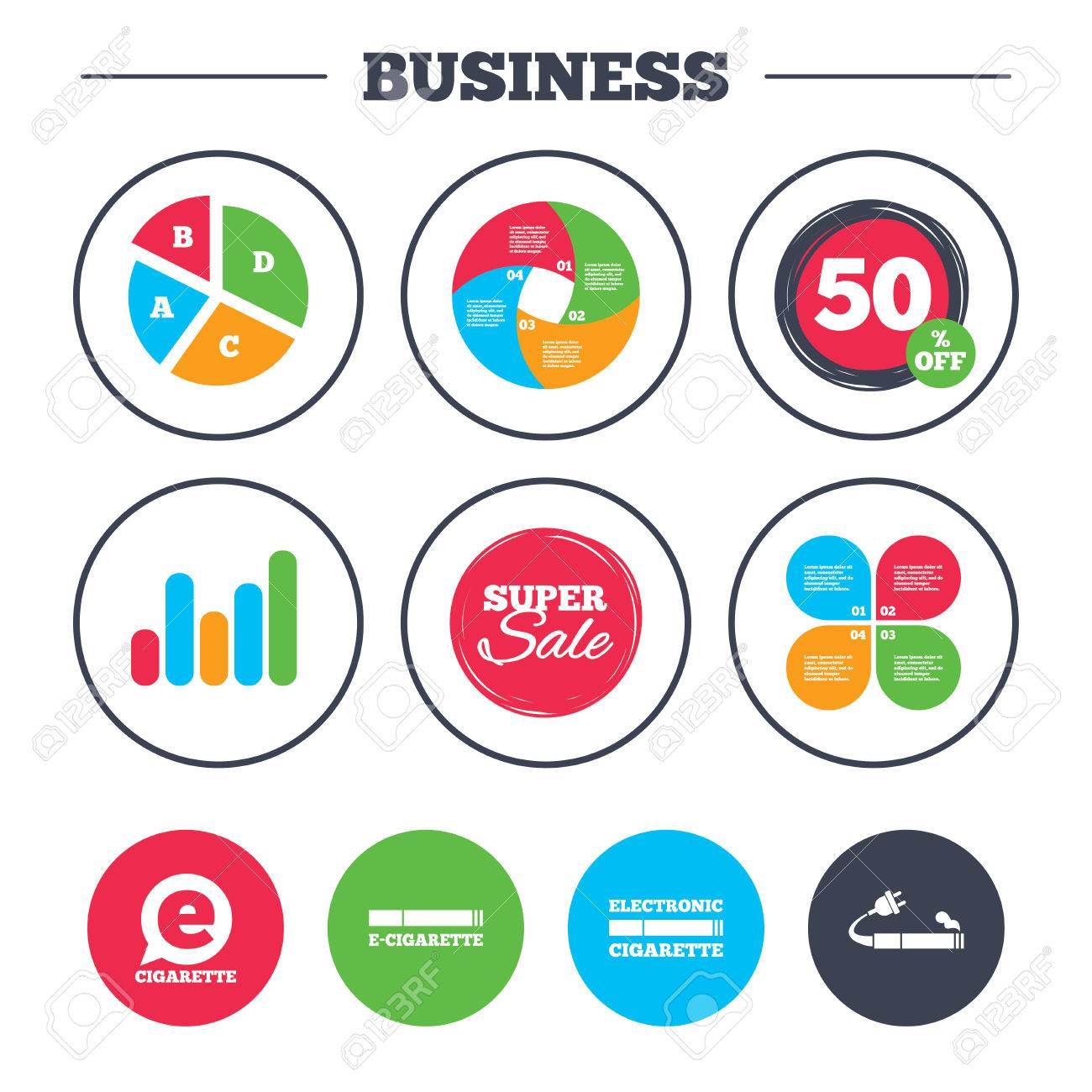Business Pie Chart Growth Graph E Cigarette With Plug Icons