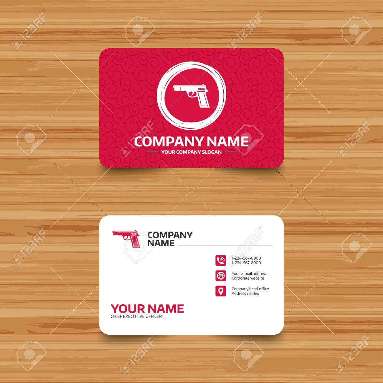 Business card template with texture gun sign icon firearms business card template with texture gun sign icon firearms weapon symbol phone colourmoves
