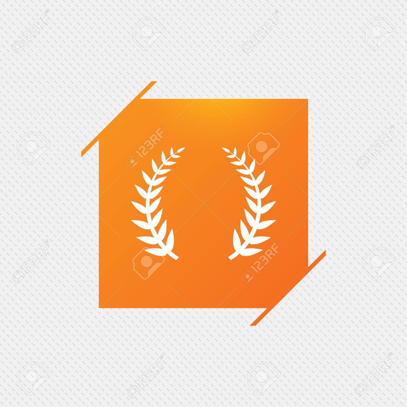 Laurel Wreath Sign Icon Triumph Symbol Orange Square Label