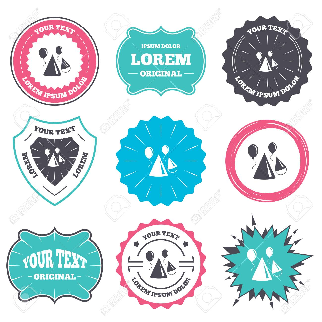 label and badge templates party hat sign icon birthday celebration