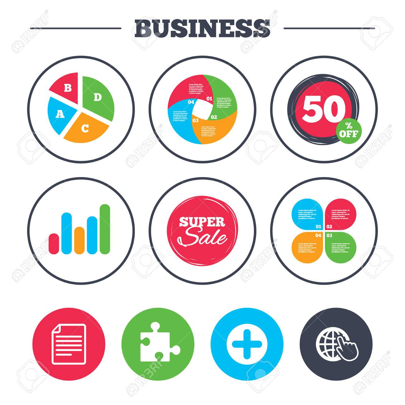 Business pie chart growth graph plus add circle and puzzle business pie chart growth graph plus add circle and puzzle piece icons document nvjuhfo Images