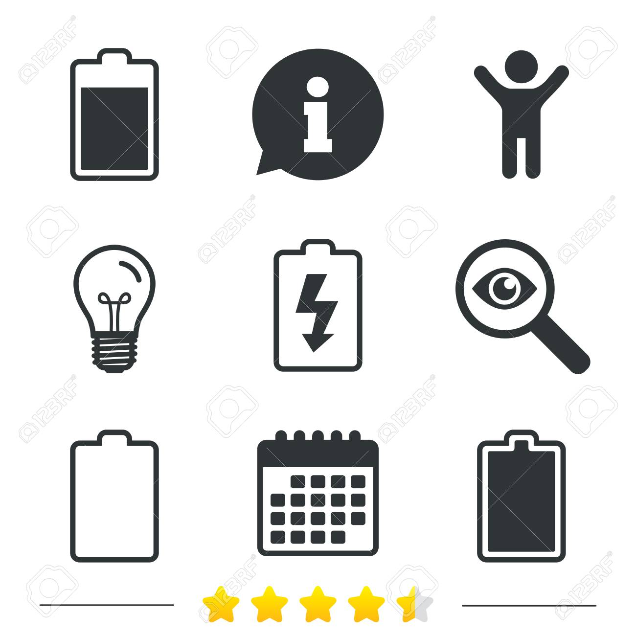 Battery Charging Icons. Electricity Signs Symbols. Charge Levels ...
