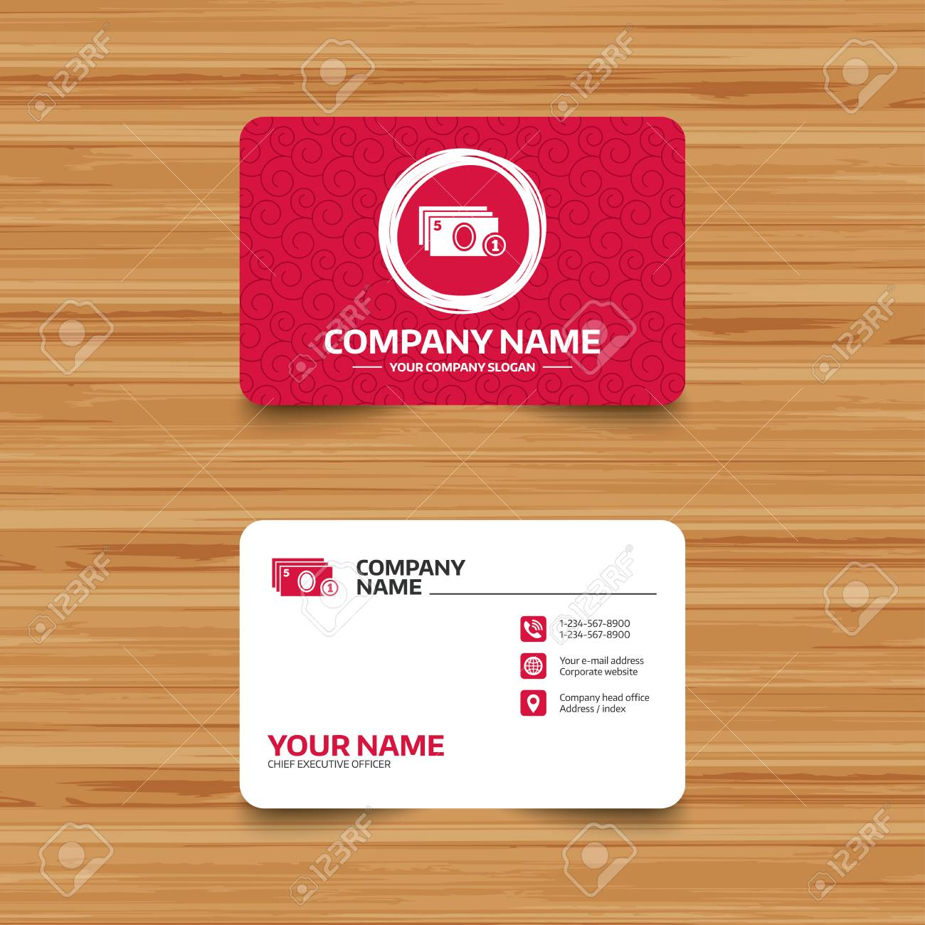 Business Card Template With Texture. Cash And Coin Sign Icon ...