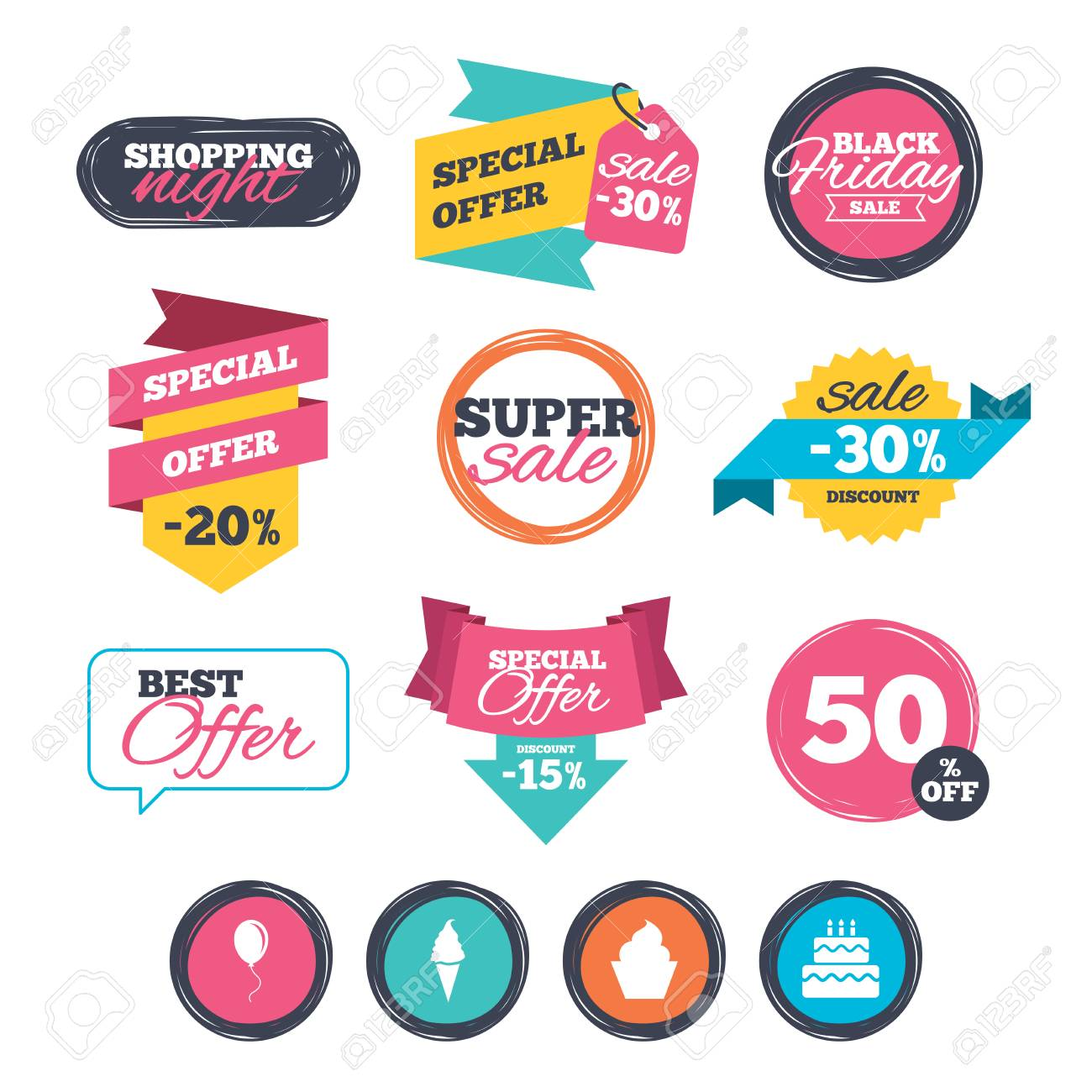 Sale Stickers Online Shopping Birthday Party Icons Cake With