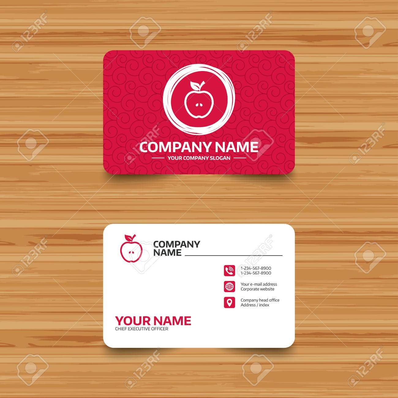 Business Card Template With Texture. Apple Sign Icon. Fruit With ...