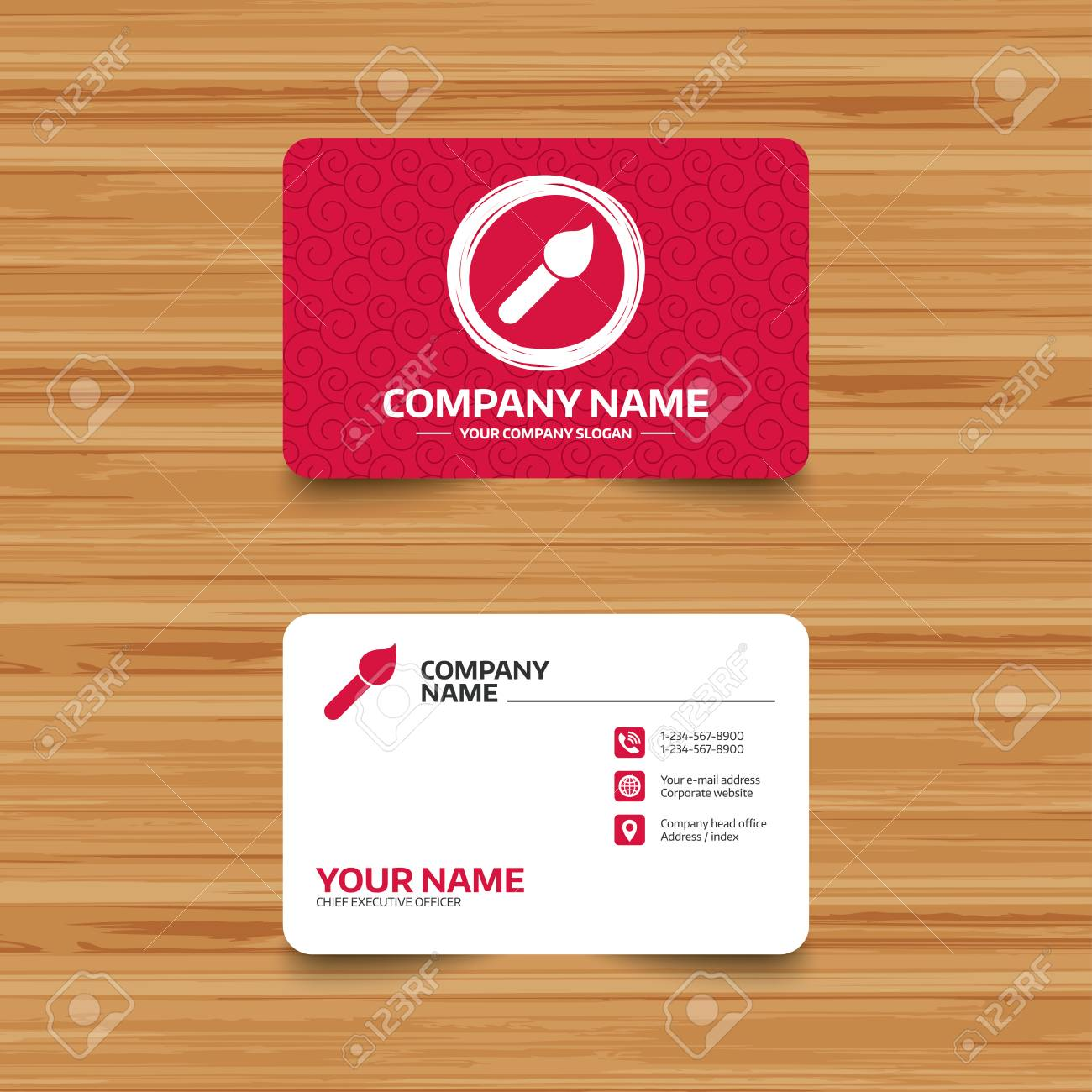 Business Card Template With Texture Paint Brush Sign Icon Artist - Painter business card template