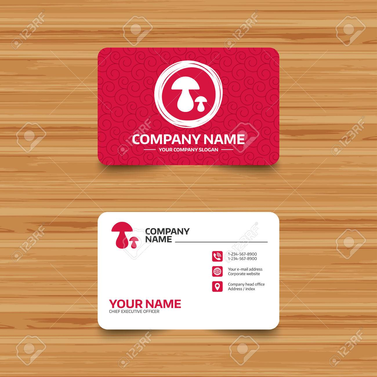 Business Card Template With Texture. Mushroom Sign Icon. Boletus ...