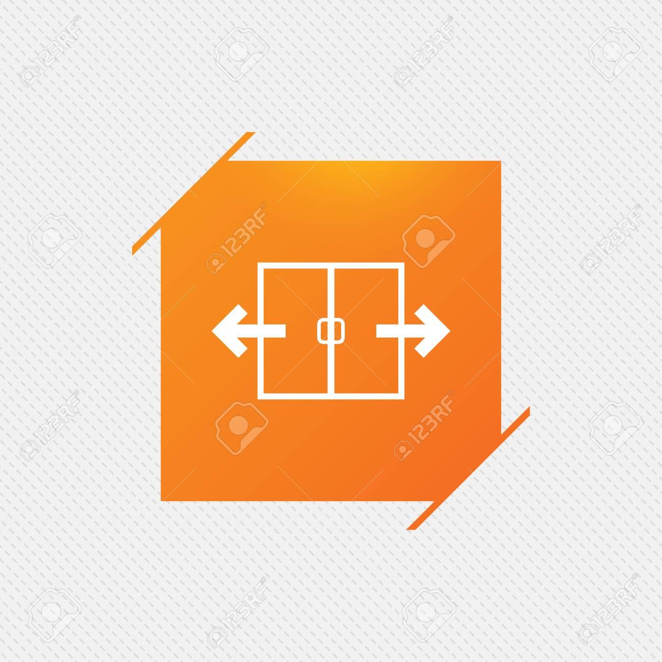 Automatic Door Sign Icon Auto Open Symbol Orange Square Label