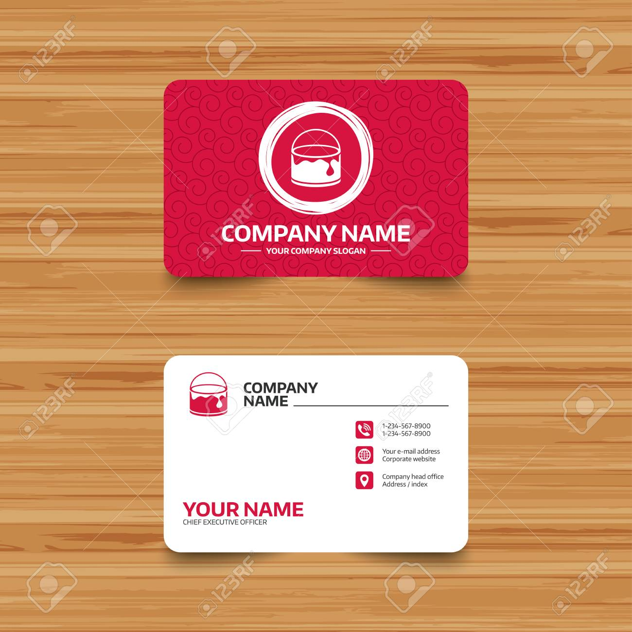 Business Card Template With Texture. Bucket Of Paint Icon. Painting ...