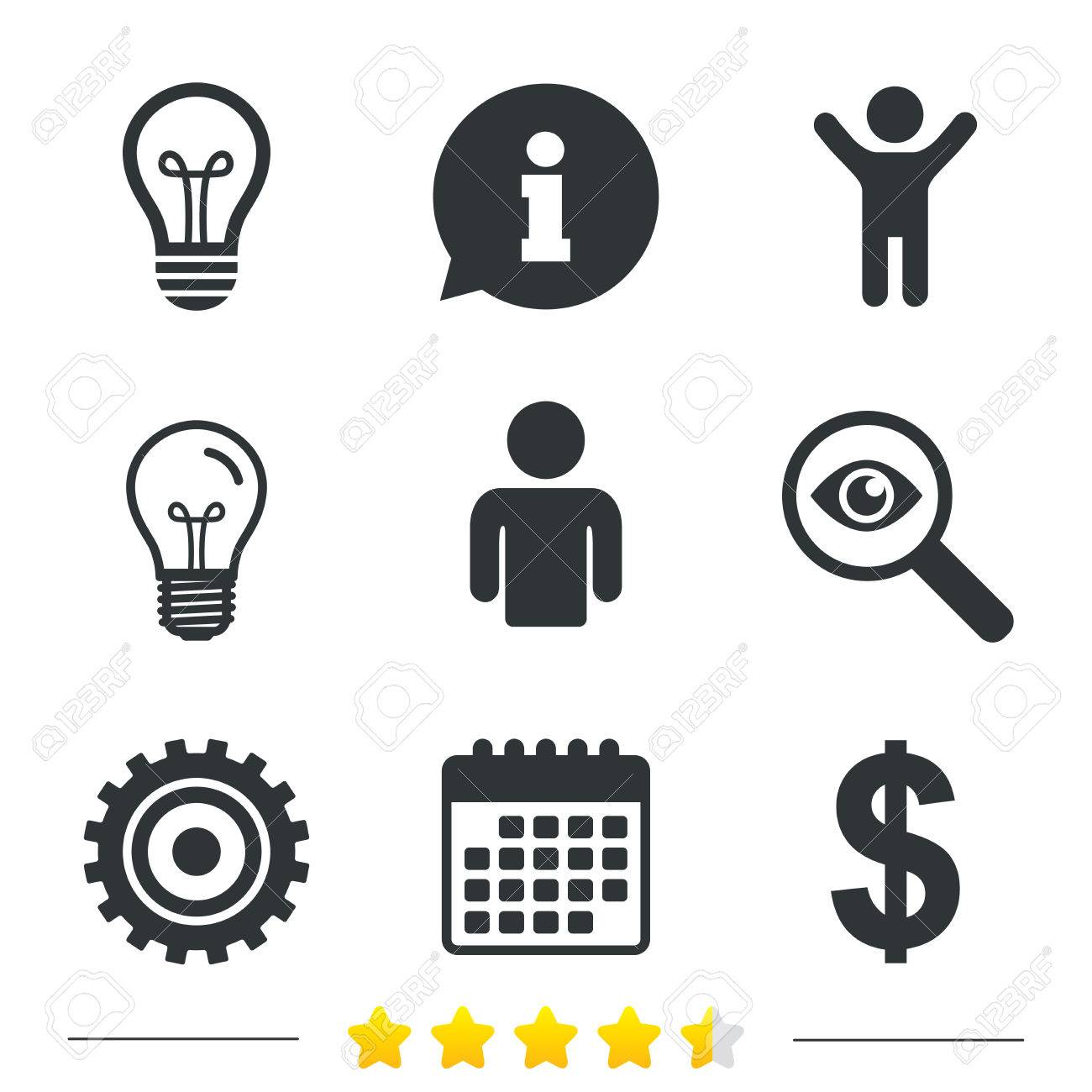 Business icons human silhouette and lamp bulb idea signs dollar human silhouette and lamp bulb idea signs dollar currency and gear symbols buycottarizona