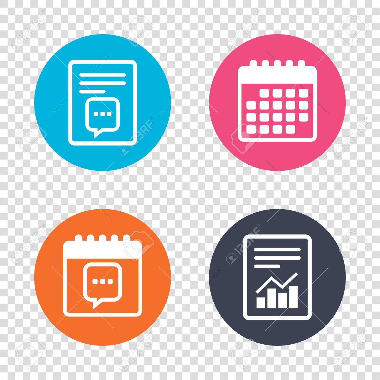 Report document calendar icons chat sign icon speech bubble report document calendar icons chat sign icon speech bubble with three dots symbol biocorpaavc