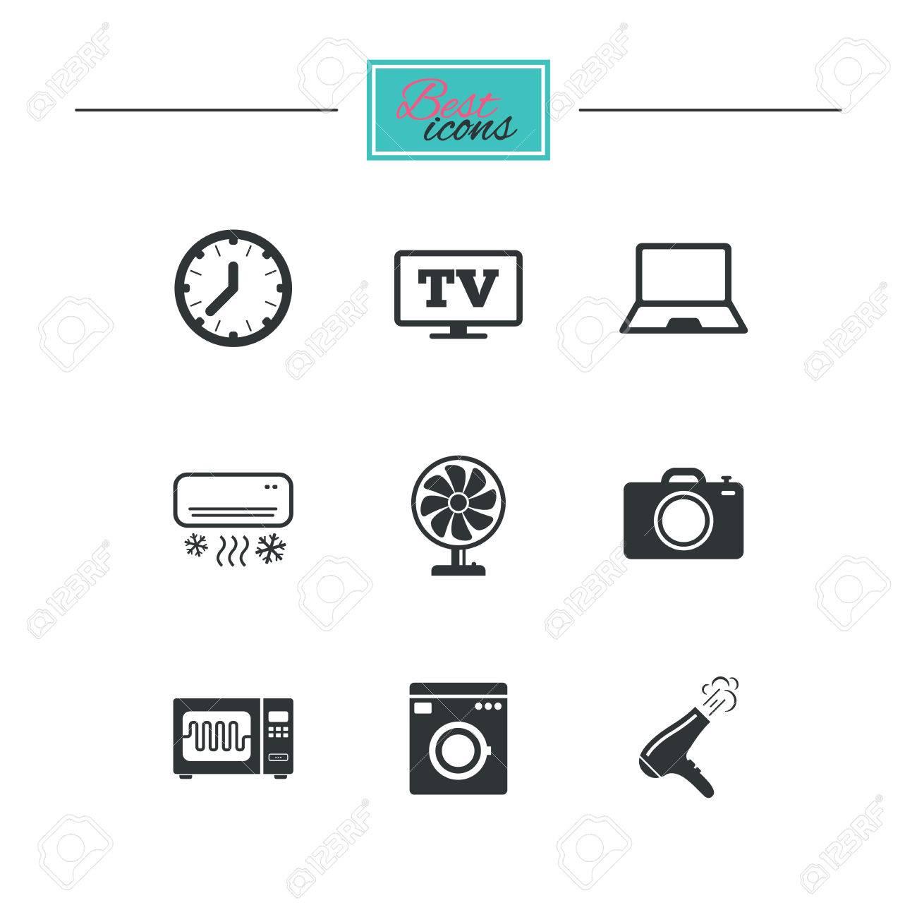 Haushaltsgeräte Gerätesymbole Elektronikzeichen Klimaanlage
