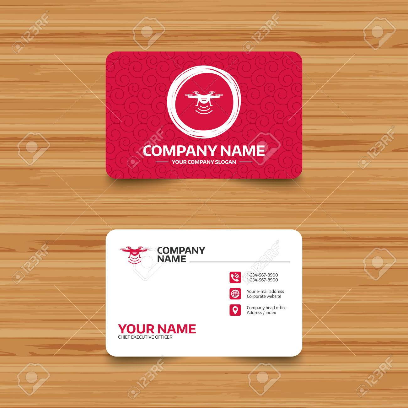 Business card template with texture drone icon quadrocopter business card template with texture drone icon quadrocopter with remote control symbol phone colourmoves