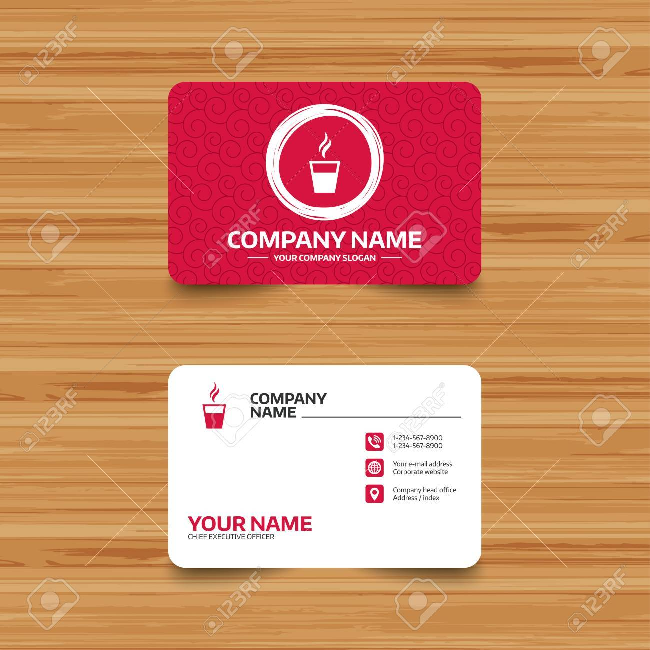 Business Card Template With Texture Coffee Glass Sign Icon