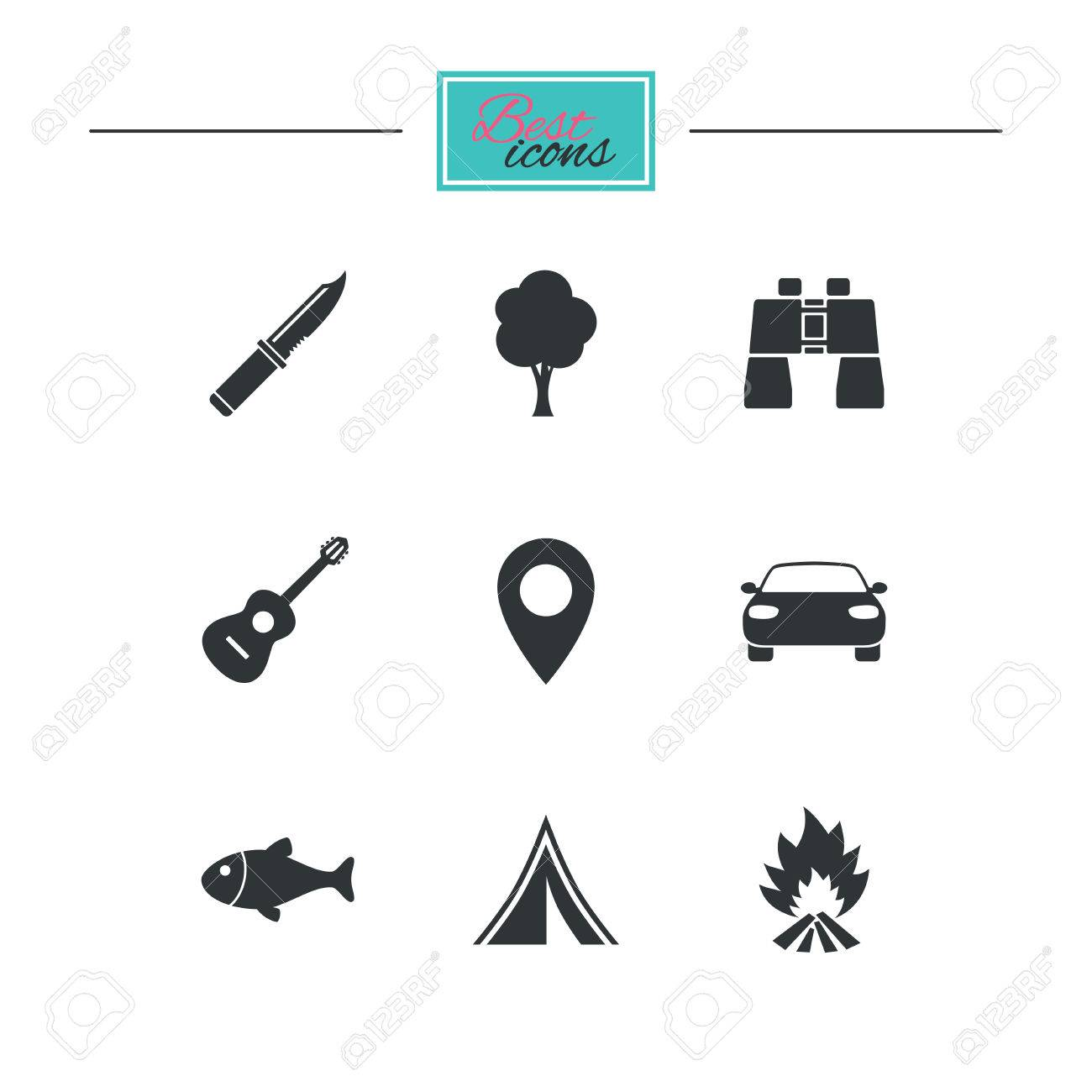 Fishing c&fire and tent signs. Guitar music knife  sc 1 st  123RF Stock Photos & Camping Tourism Icons. Fishing Campfire And Tent Signs. Guitar ...