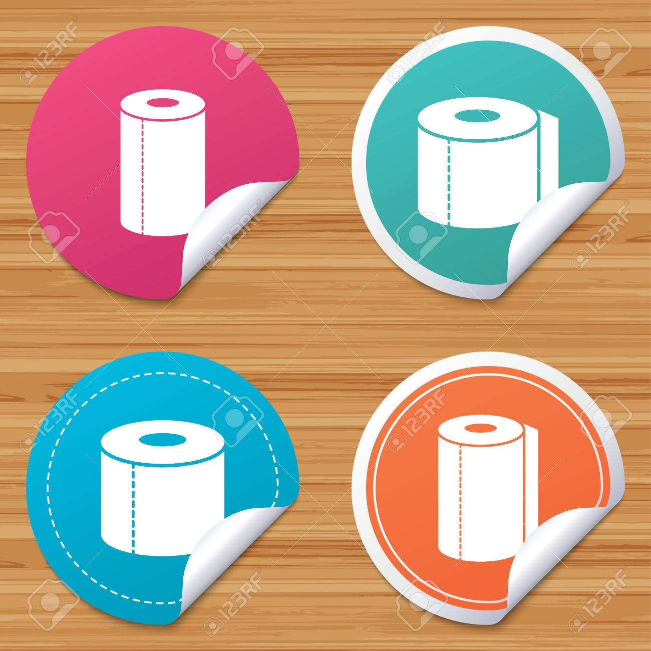 Round Stickers Or Website Banners. Toilet Paper Icons. Kitchen ...