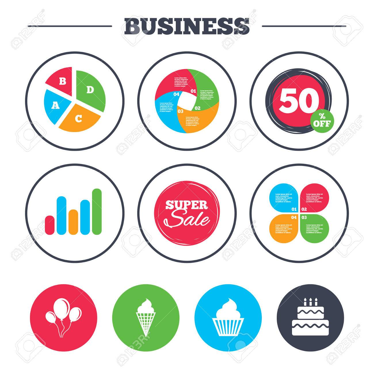 Business Pie Chart Growth Graph Birthday Party Icons Cake