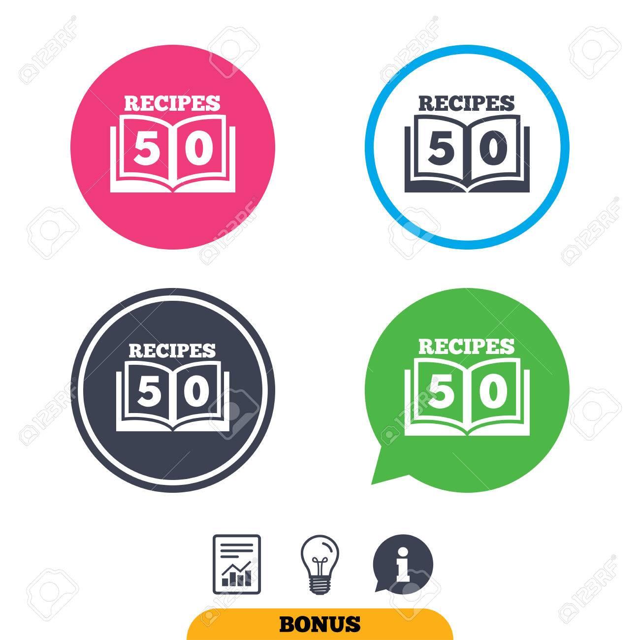 Kochbuch-Zeichen-Symbol. 50 Rezepte Buchsymbol. Bericht Dokument ...