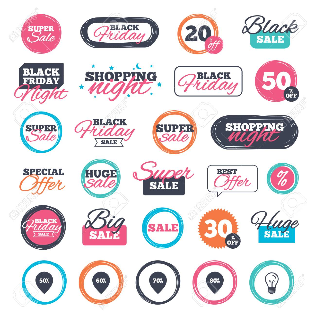 Sale Shopping Stickers And Banners Sale Pointer Tag Icons Discount
