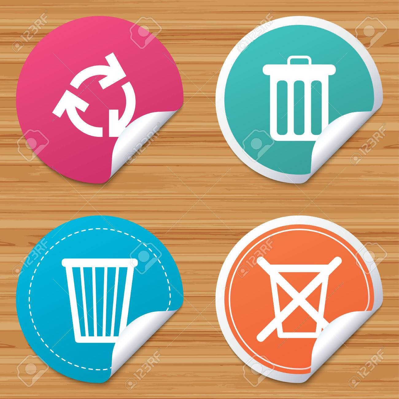 Round Stickers Or Website Banners Recycle Bin Icons Reuse Or