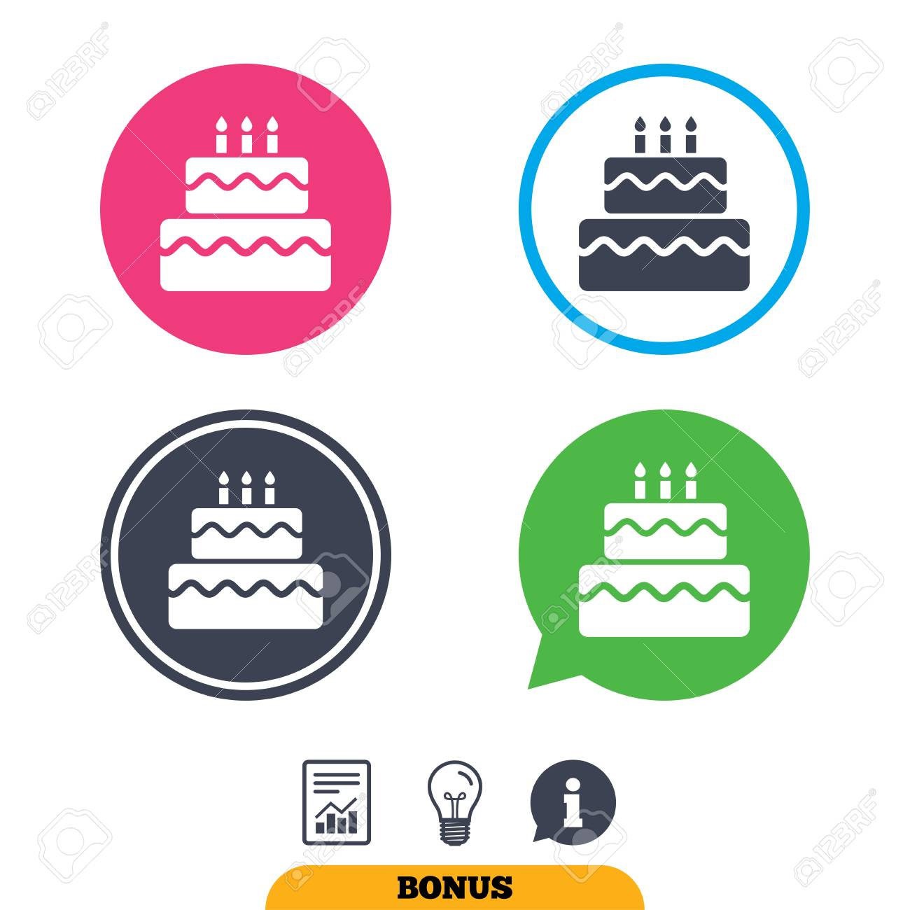 Birthday Cake Sign Icon Cake With Burning Candles Symbol Report