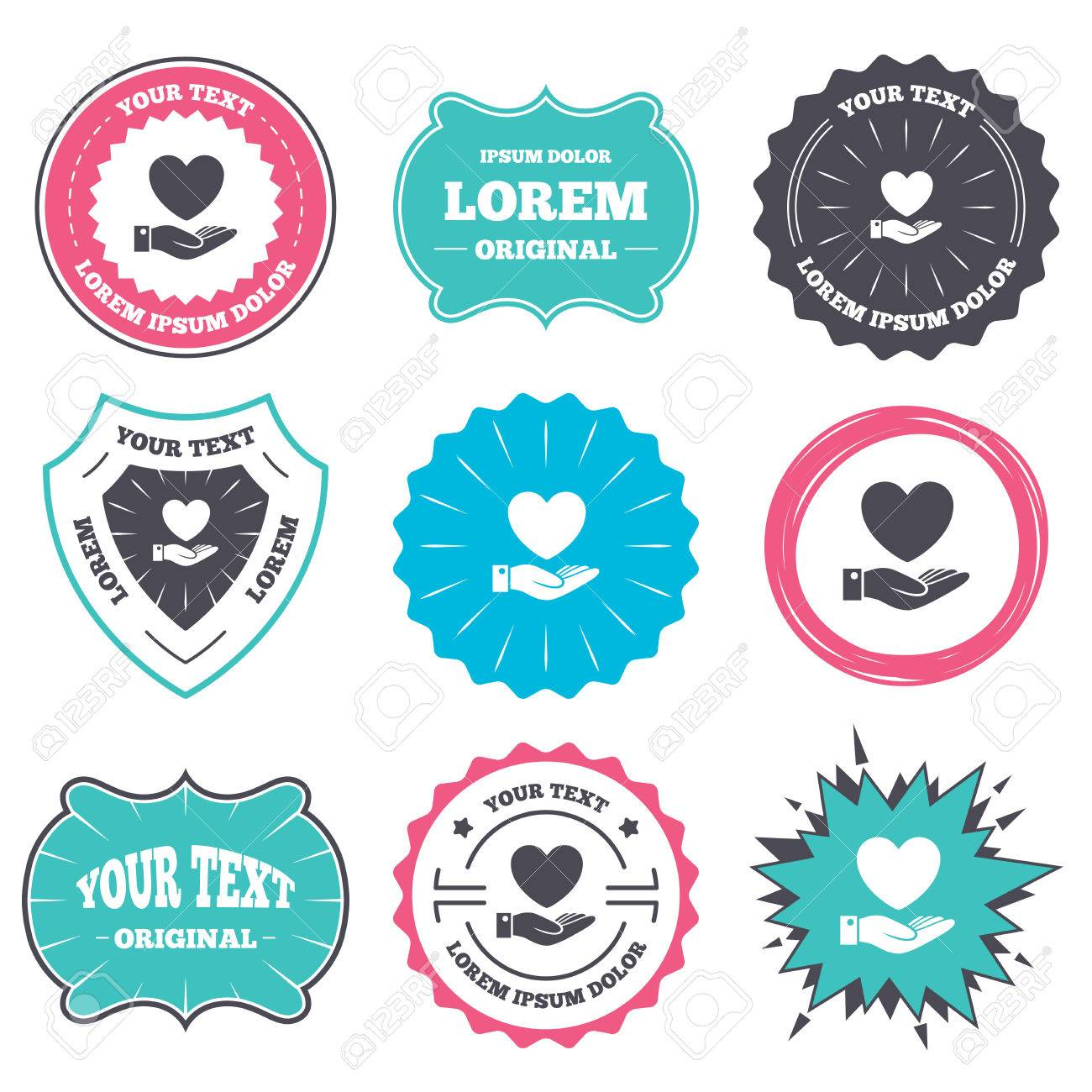 Label And Badge Templates Heart And Hand Sign Icon Palm Holds