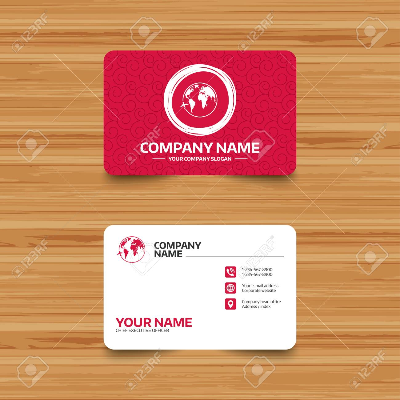 Business card template with texture airplane sign icon travel business card template with texture airplane sign icon travel trip round the world symbol accmission Image collections