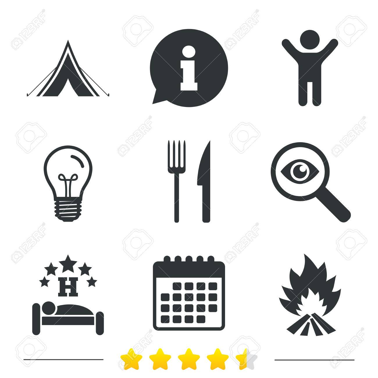 Food sleep c&ing tent and fire icons. Knife and fork. Hotel or  sc 1 st  123RF Stock Photos & Food Sleep Camping Tent And Fire Icons. Knife And Fork. Hotel ...