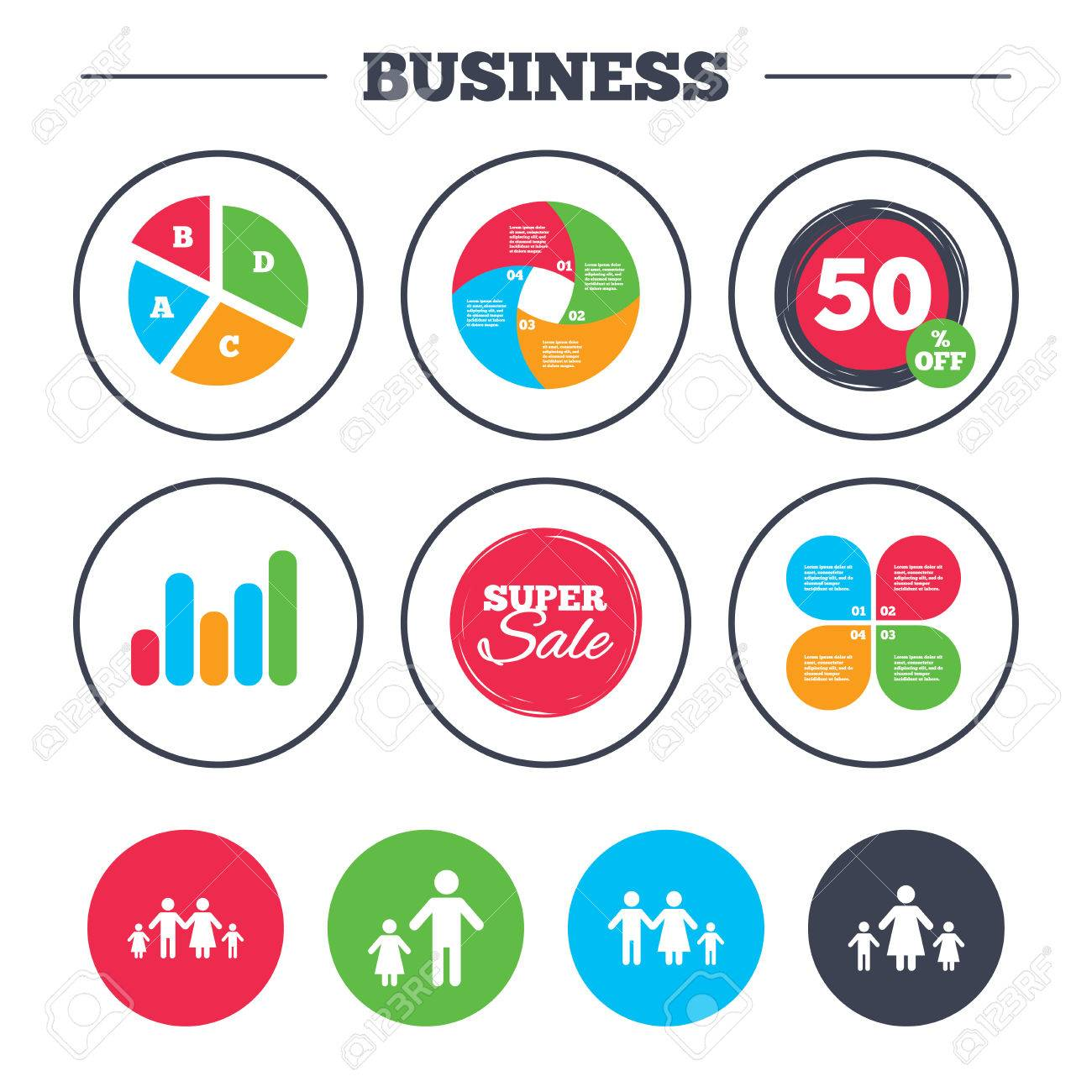 business pie chart. growth graph. family with two children icon