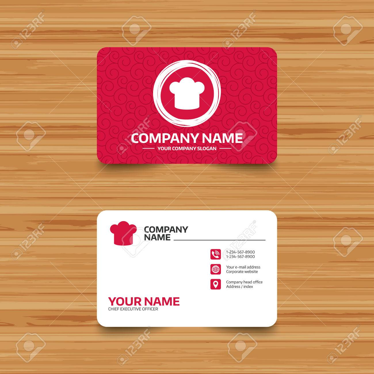 business card template with texture chief hat sign icon cooking