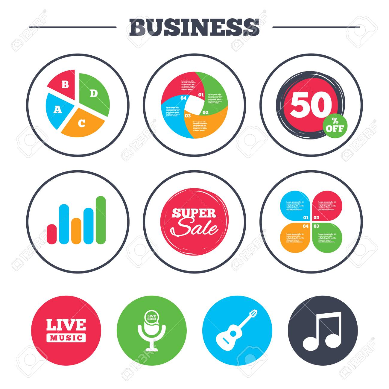 Business Pie Chart Growth Graph Musical Elements Icons Microphone