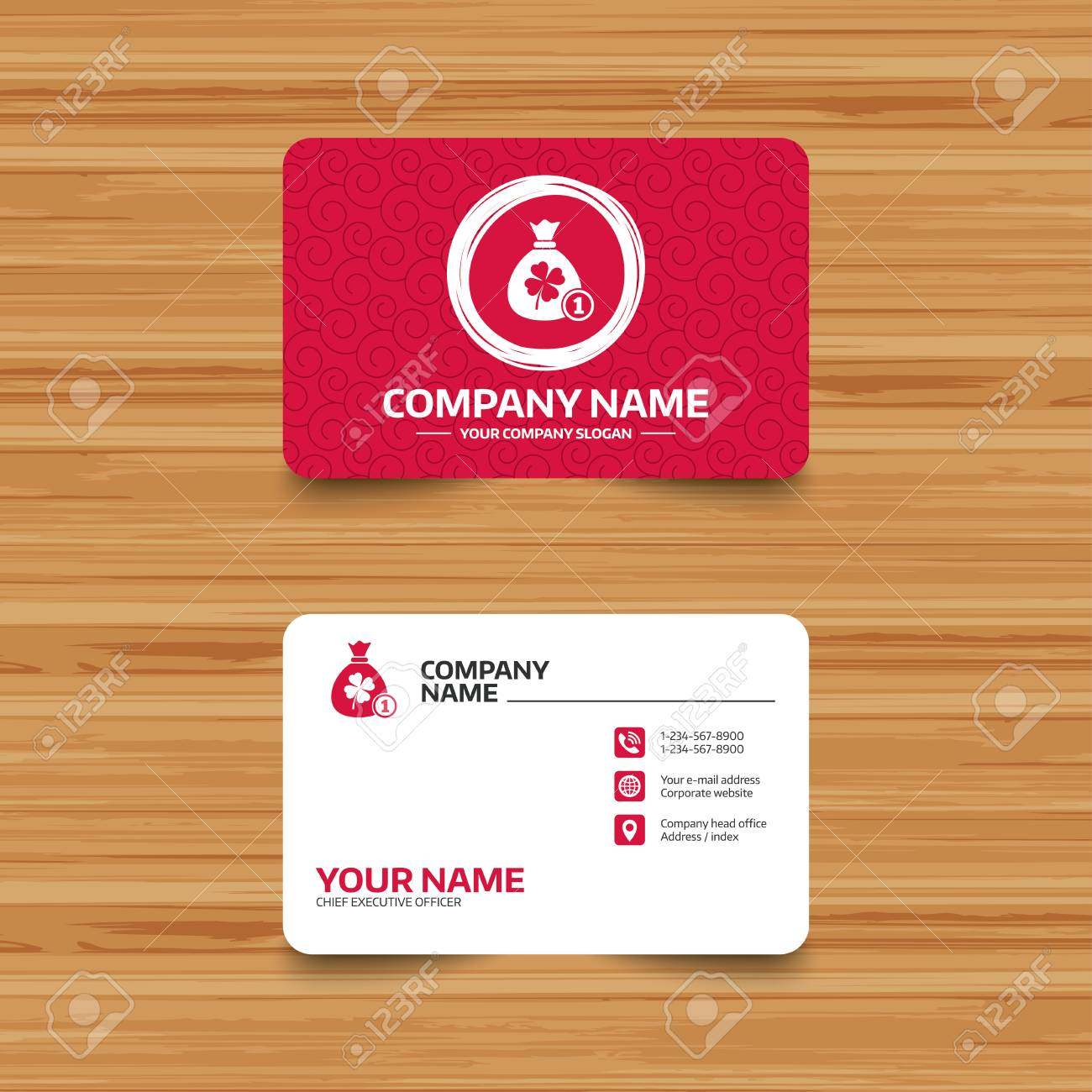 Business Card Template With Texture. Money Bag With Clover And ...