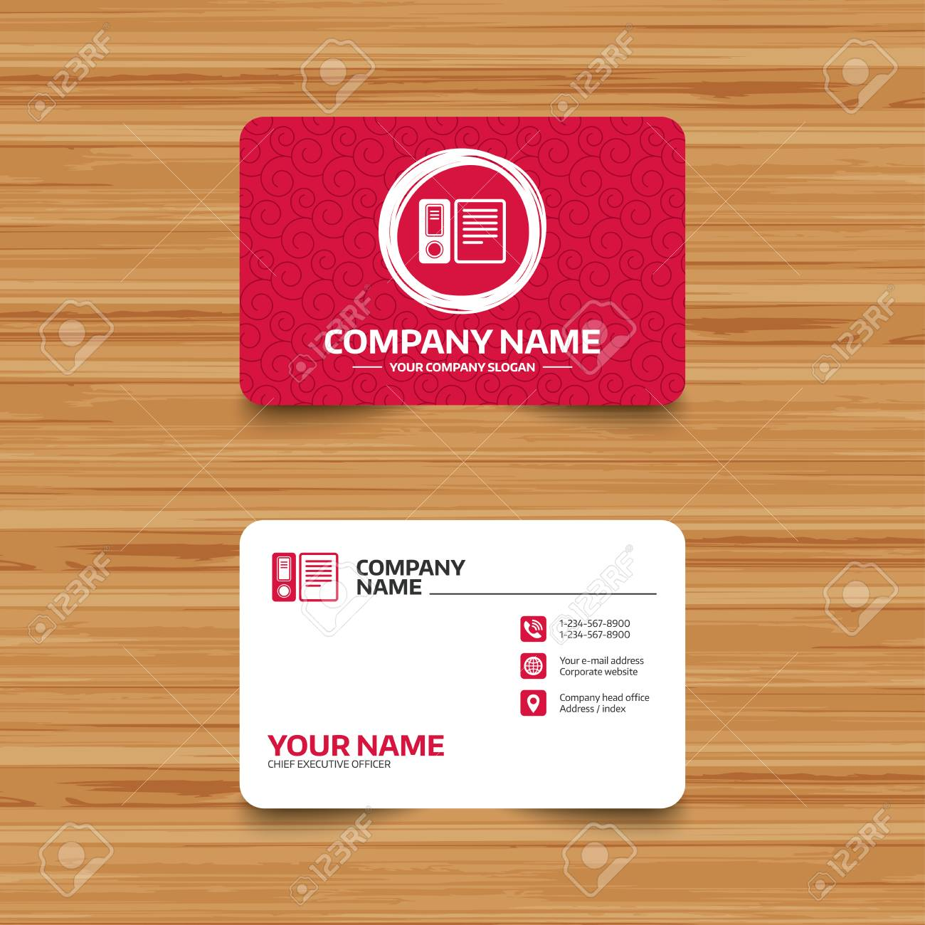 Business card template with texture document folder sign business card template with texture document folder sign accounting binder symbol bookkeeping management wajeb Images