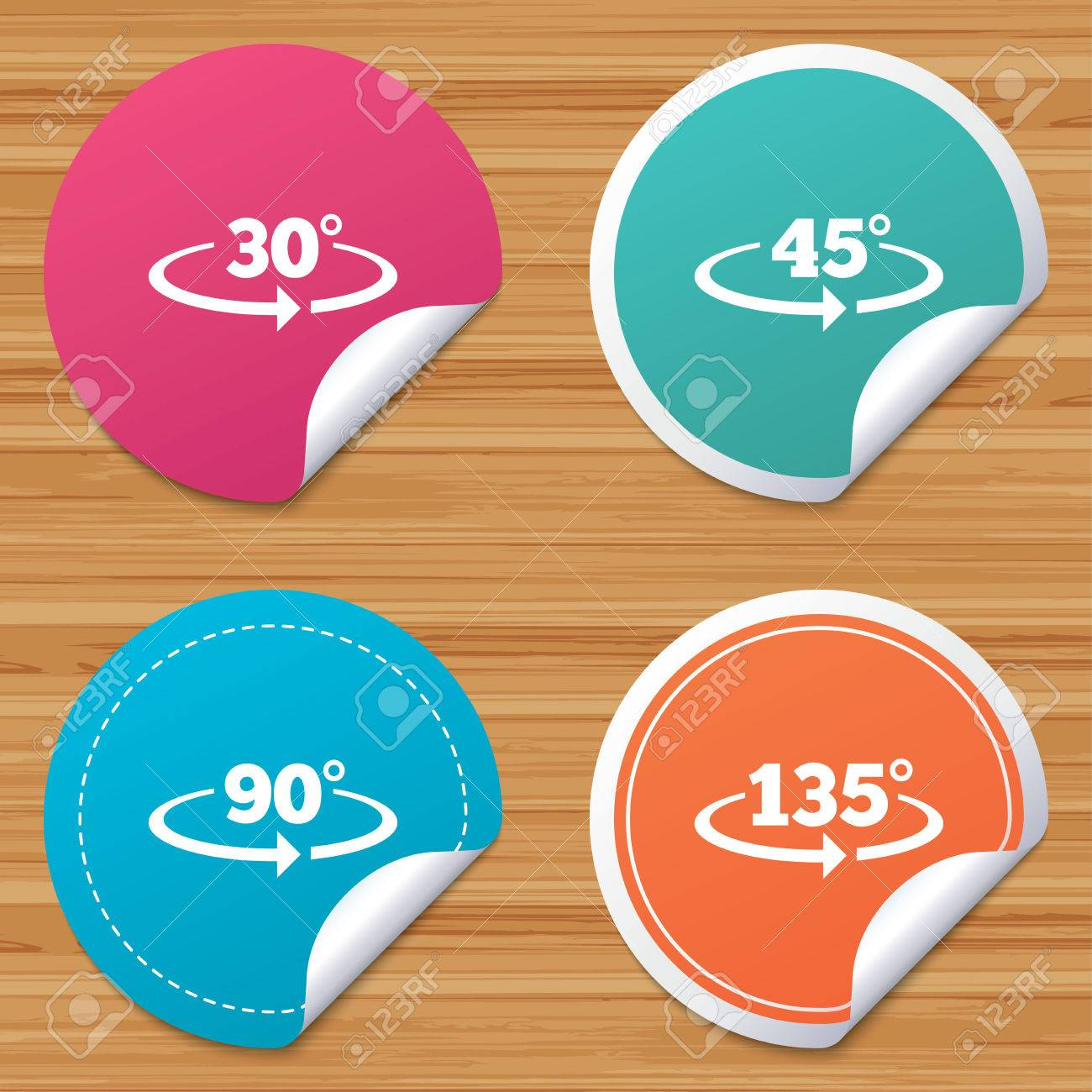 Round Stickers Or Website Banners. Angle 30-135 Degrees Icons ...