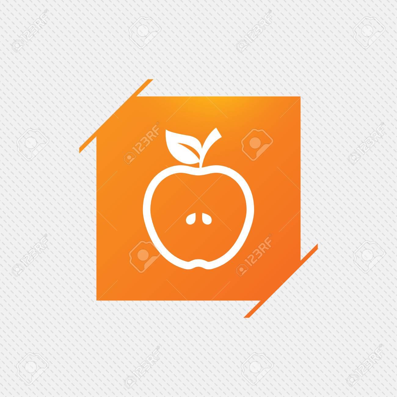 apple sign icon. fruit with leaf symbol. orange square label