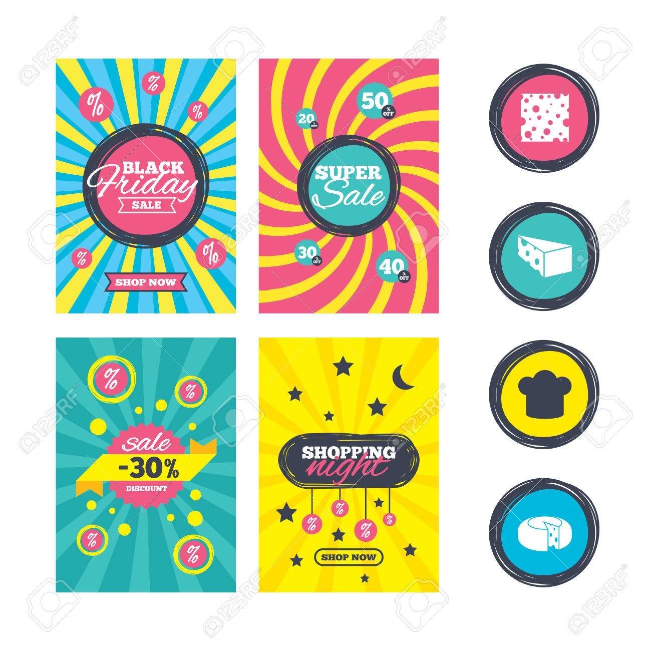 Sale Website Banner Templates Cheese Icons Round Cheese Wheel