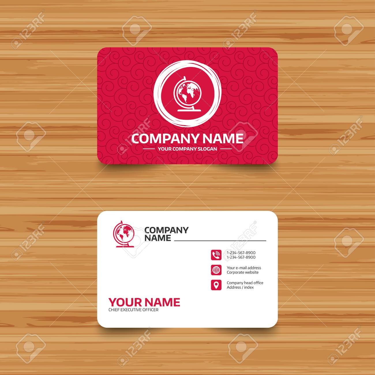 Business Card Template With Texture. Globe Sign Icon. World Map ...
