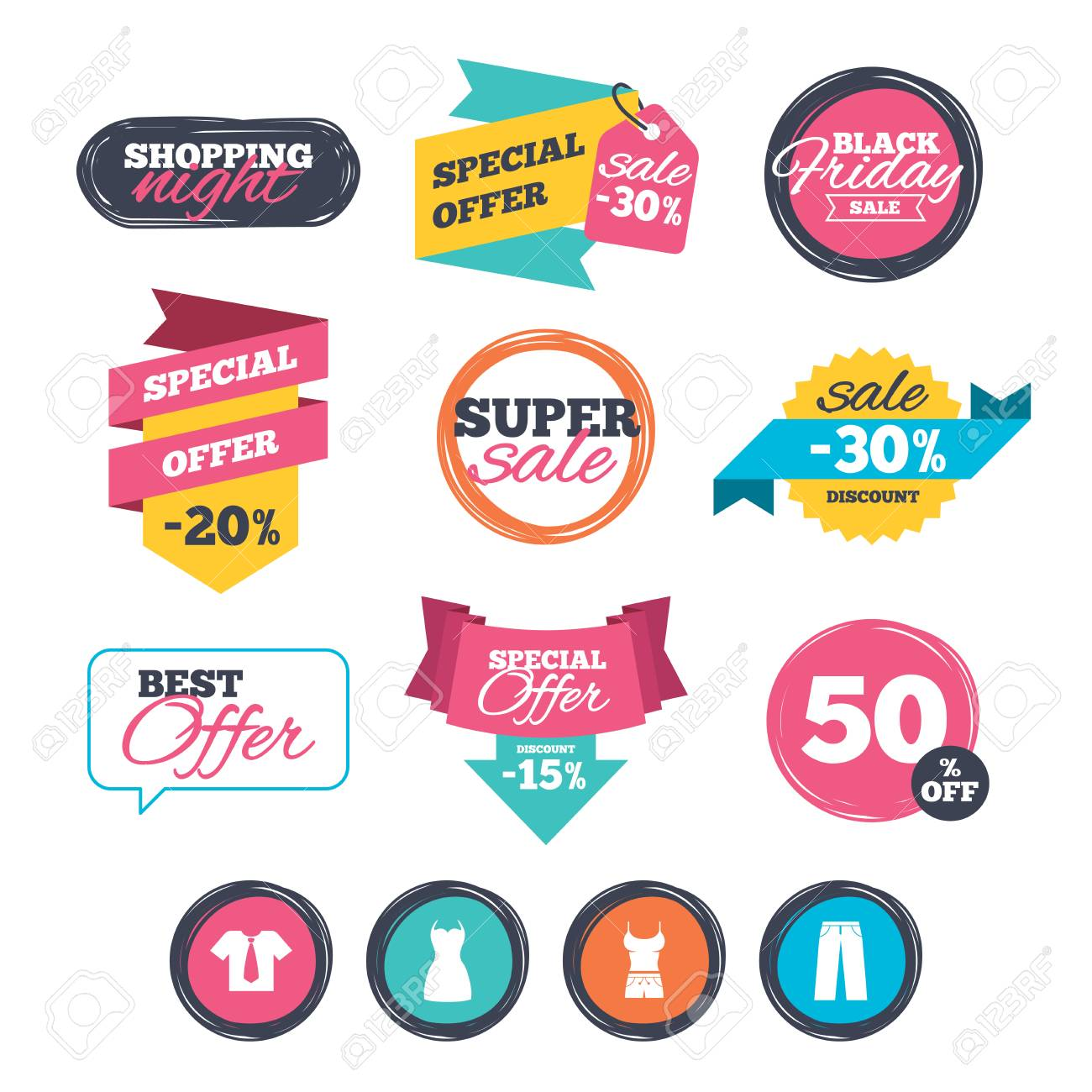 e067b92fc874 Sale stickers, online shopping. Clothes icons. T-shirt with business..