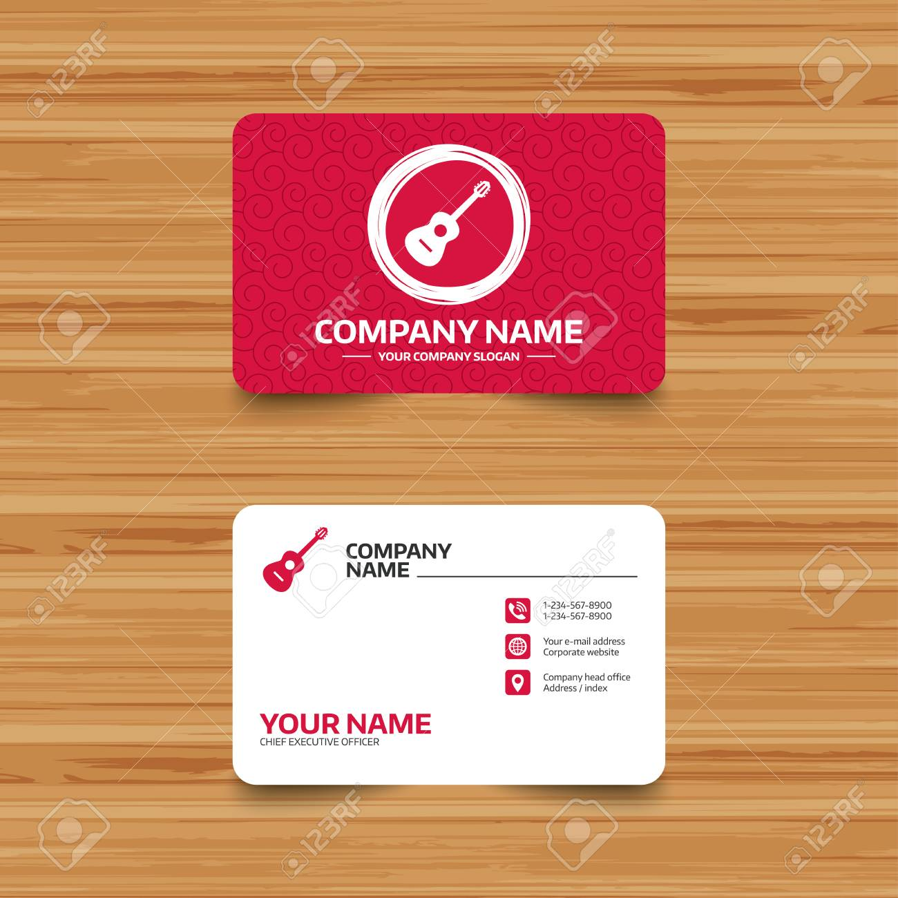 Business card template with texture acoustic guitar sign icon business card template with texture acoustic guitar sign icon music symbol phone reheart Images