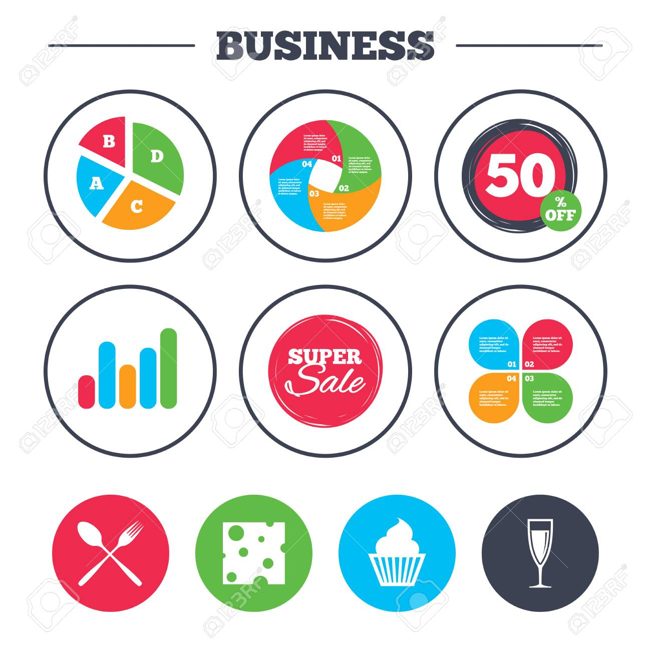 Business Pie Chart Growth Graph Food Icons Muffin Cupcake