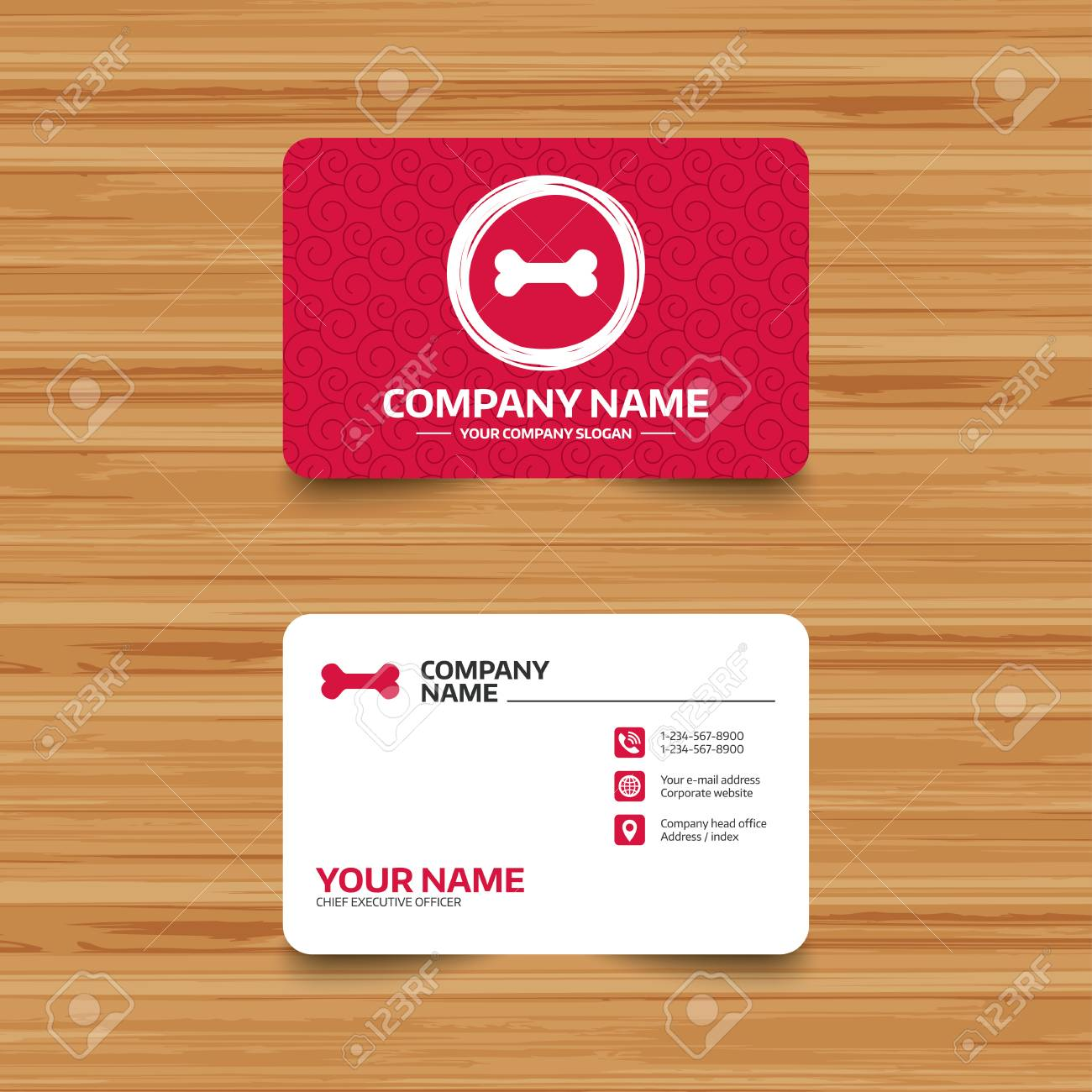 Business Card Template With Texture. Dog Bone Sign Icon. Pets ...