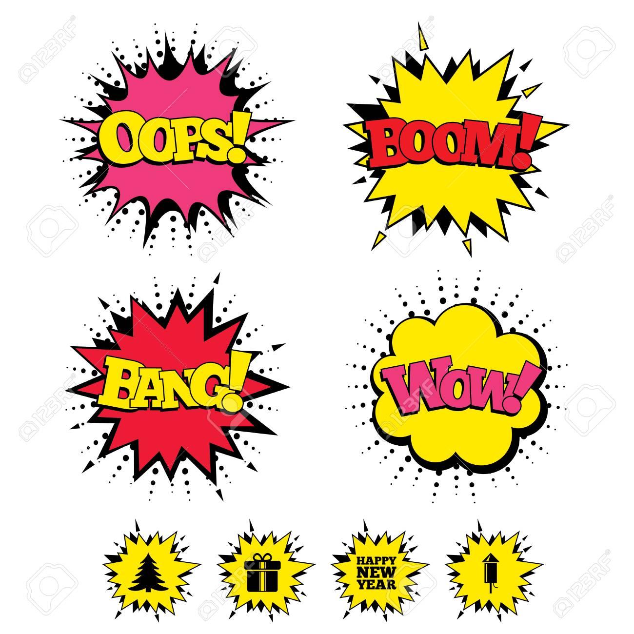 Comic Boom, Wow, Oops Sound-Effekte. Glückliches Neues Jahr-Symbol ...