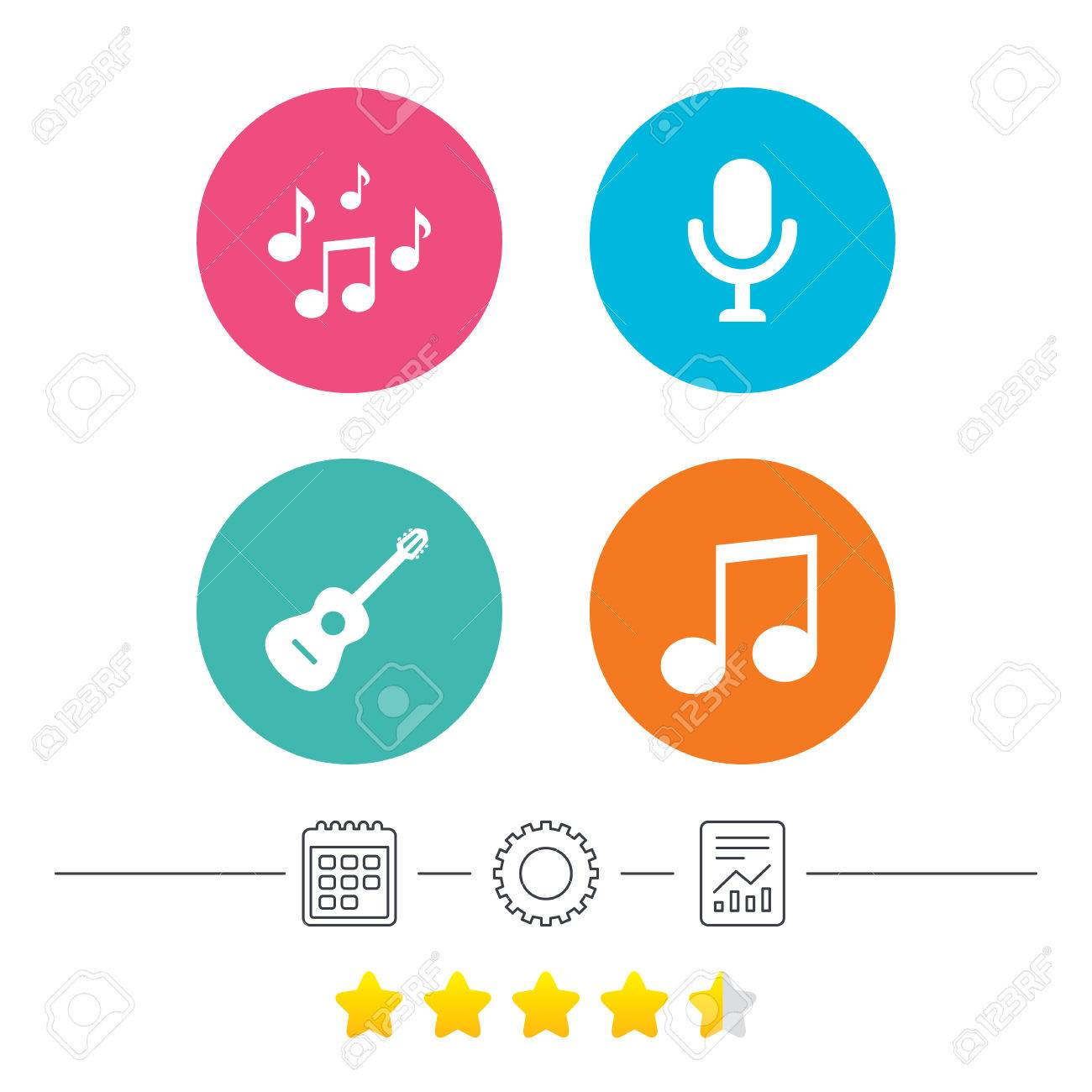 music icons microphone karaoke symbol music notes and acoustic rh 123rf com Music Note Icon Music Notes Symbols