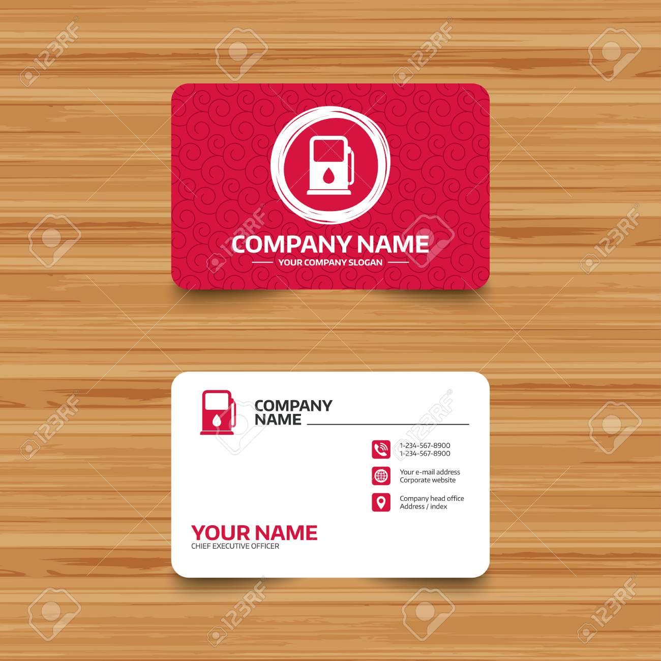 Business Card Template With Texture. Petrol Or Gas Station Sign ...