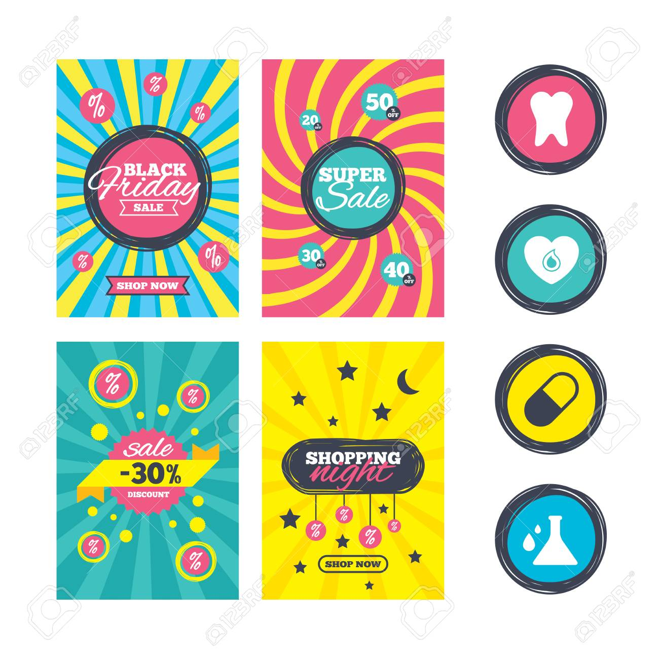 Sale Website Banner Templates Maternity Icons Pill Tooth