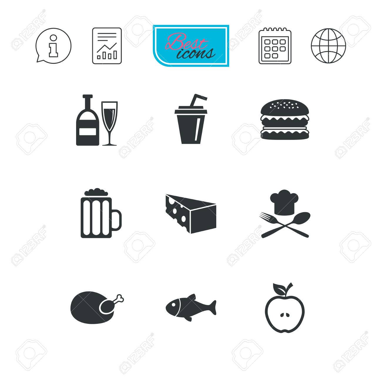 Food Drink Icons Beer Fish And Burger Signs Chicken Cheese And