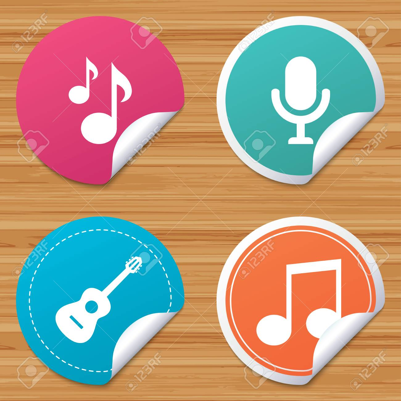 Round stickers or website banners  Music icons  Microphone karaoke