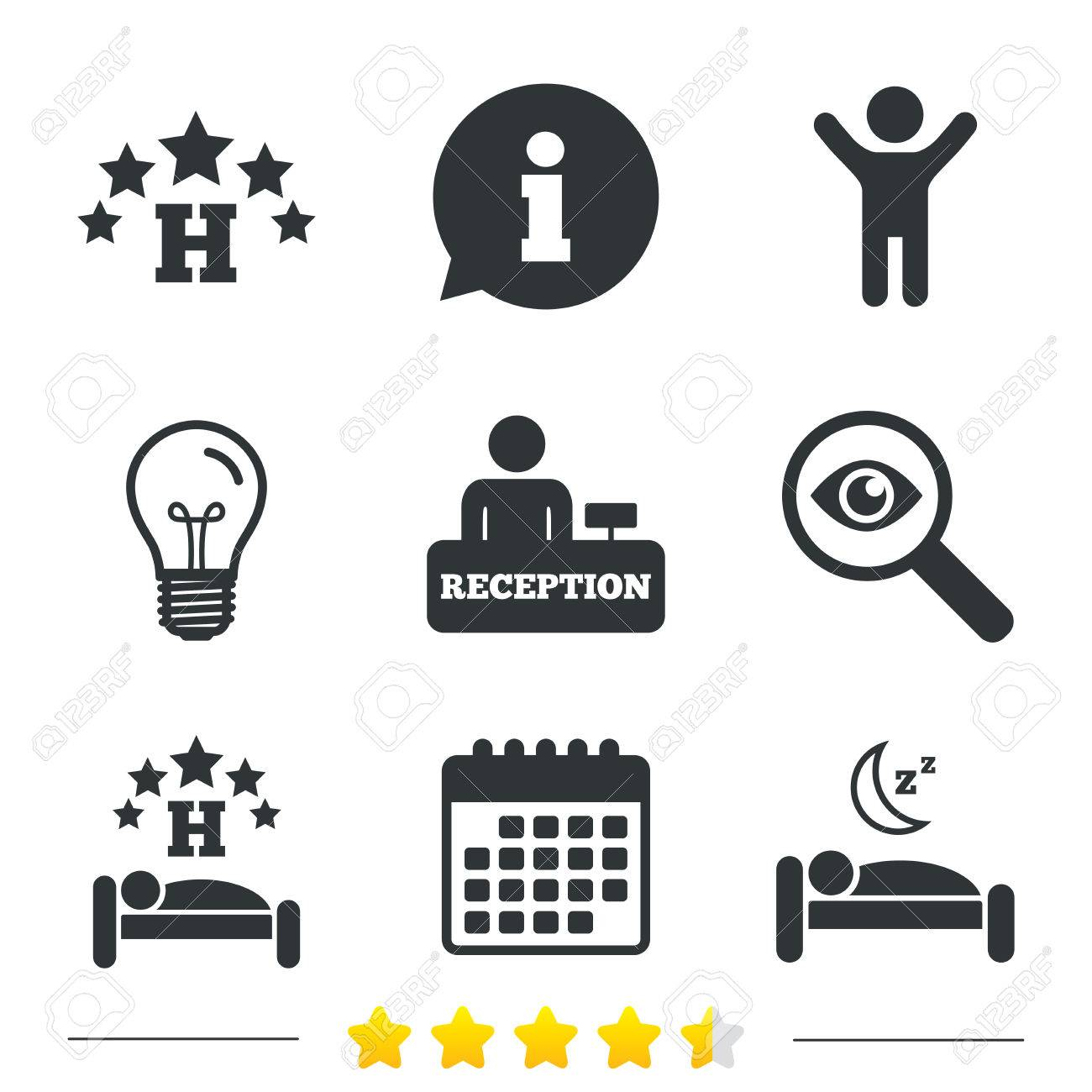 Five Stars Hotel Icons Travel Rest Place Symbols Human Sleep