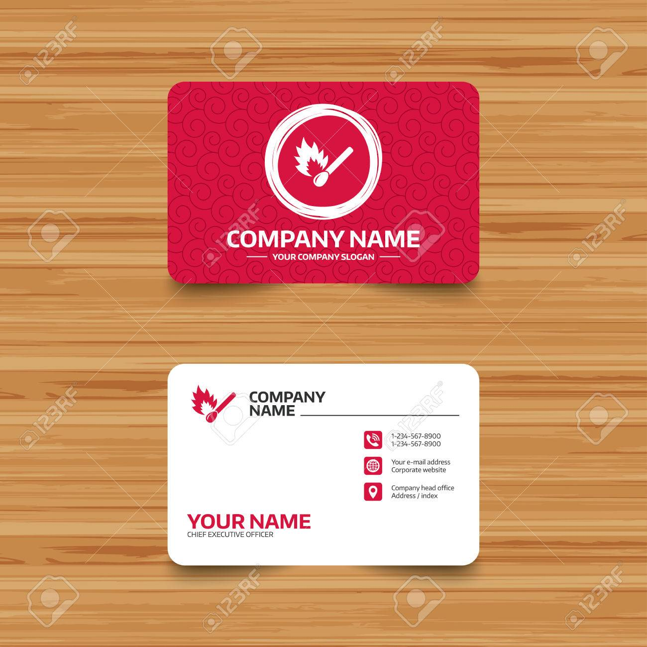business card template with texture match stick burns icon